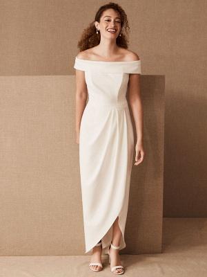 Einfaches Hochzeitskleid Schwarz Stretch Krepp Bateau-Ausschnitt Kurze Ärmel Plissee Etui Brautkleider_1