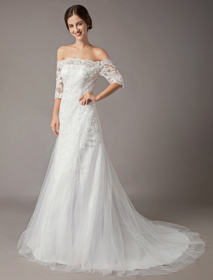 Wedding Dresses Ivory Lace Off Shoulder Half Sleeve Sequin Applique Bridal Dress With Train Exclusive_5