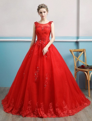 Red Wedding Dresses Lace Applique Beaded Princess Ball Gowns Train Bridal Dress_1
