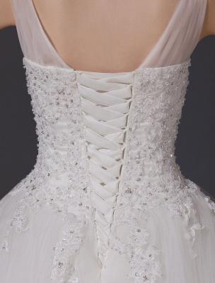 Brautkleider V-Ausschnitt Spitze Applique Brautkleid Pailletten Perlen Illusion Lange Kathedrale Zug Brautkleid_8