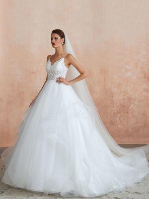 Ballkleid Brautkleid 2021 Prinzessin Träger Hals Ärmellos Natürliche Taille Besetzte Tüll Brautkleider Mit Zug_1