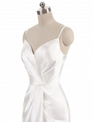 Brautkleider Meerjungfrau Ärmellose Abendkleider V-Ausschnitt Träger Split Elfenbein Brautkleid mit Hofzug Bridal_6