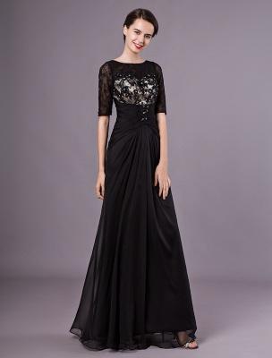 Schwarze Abendkleider Halbarm Spitze Perlen Chiffon Lange Abendkleider Hochzeitsgast Kleid_1