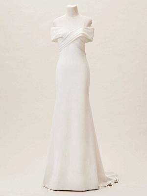 Einfache Brautkleider Satin schulterfrei Plissee bodenlangen Kapelle-Schleppe Brautkleid_7