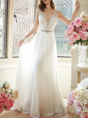 Simple Wedding Dress 2021 A Line V Neck Sleeveless Floor Length Lace Bridal Gowns_1