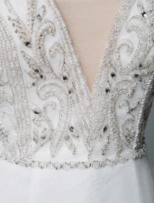 Robe de mariée de plage une ligne sans manches col en V haute Split longueur de plancher dos nu robe de mariée sexy_5