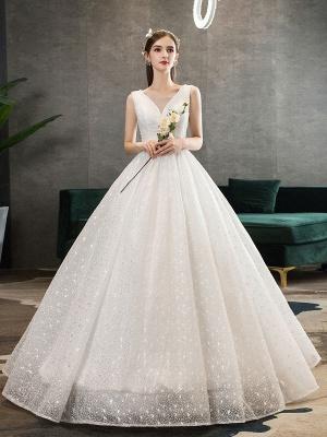 Ivory Wedding Dress Tulle Beaded V Neck Sleeveless Floor Length Princess Bridal Gown_2