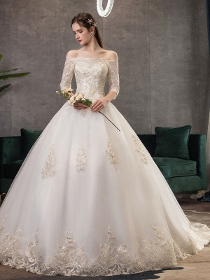 Princess-Wedding-Dresses-Ivory-Lace-Applique-Off-The-Shoulder-Half-Sleeve-Bridal-Gown-With-Train_3