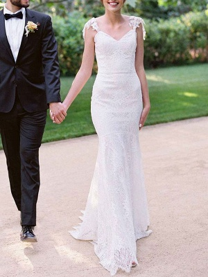 Simple Wedding Dresses 2021 Lace Sweetheart Off The Shoulder Mermaid Bridal Gown With Train For Boho Wedding_5
