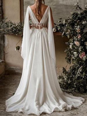 Boho Brautkleider 2021 Chiffon V-Ausschnitt Hohe Taille Römische Drapierung Ärmel Brautkleid_3