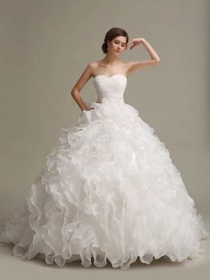 Brautkleider Prinzessin Ballkleider Trägerlos Schatz-Ausschnitt Plissee Rüschen Perlen Schärpe Tüll Elfenbein Brautkleid mit Zug_1