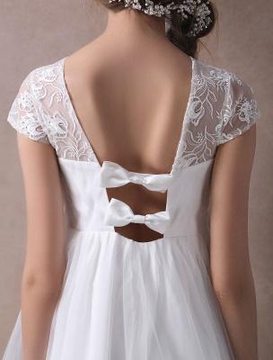 Simple Wedding Dresses Short Empire Waist Lace Tulle Cap Sleeve Pregnant Bridal Dress Exclusive_10