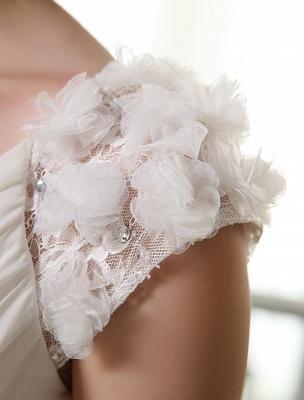 Beach Wedding Dresses V Neck Chiffon Summer Bridal Dress Chiffon Flowers Beading Pleated Floor Length Wedding Gown Exclusive_7