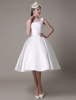 Ivory Wedding Dress Scoop Backless Knee Length Satin Wedding Gown Exclusive_4