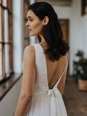 Einfache Hochzeitskleid Backless Brautkleider Chiffon V-Ausschnitt A-Linie Brautkleider_6