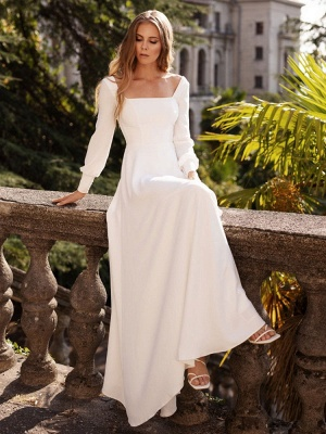 White Simple Wedding Dress Satin Fabric Square Neck Long Sleeves A-Line Floor Length Bridal Gowns_4