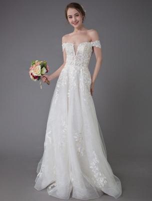 Robes de mariée d'été hors de l'épaule dentelle champagne appliques perles maxi plage robes de mariée_3