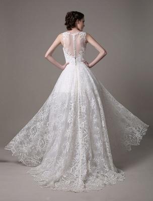 2021 Lace High-Low Brautkleid mit Llusion-Ausschnitt und Rücken exklusiv_7