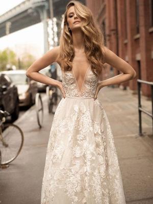 Lace Wedding Dress With Train A Line Sleeveless V Neck Bridal Dresses_2