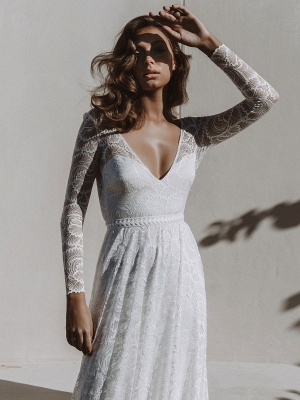Ivory Lace Wedding Dress Chapel Train A-Line Long Sleeves Lace V-Neck Long Bridal Gowns_8