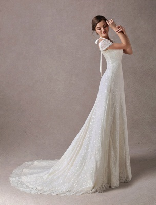 Lace Wedding Dresses Ivory V Neck Short Sleeve A Line Straps Bridal Gowns With Train Exclusive_1