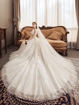 Lace Wedding Dresses Princess Bridal Gown Ivory Jewel Neck Short Sleeve Bridal Dress With Train_1