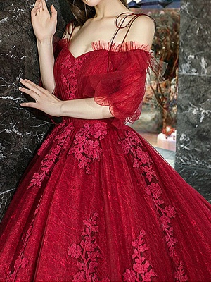 Red Princess Wedding Dresses Tulle Half Sleeves Bridal Gown Applique Evening Party Dresses_3