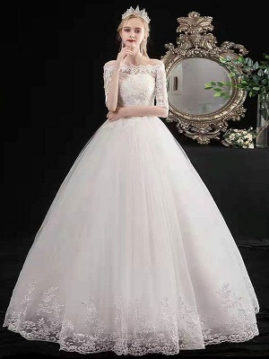 Stylish Wedding Dresses Eric White Off The Shoulder Half Sleeves Ball Gown Soft Tulle Lace Up Floor Length Bride Dresses_2