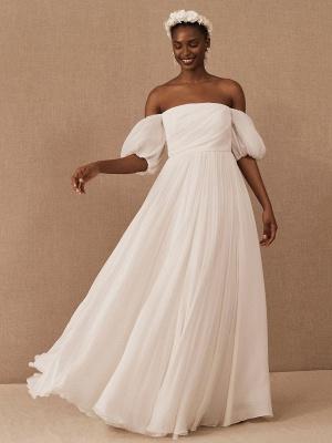 Weißes einfaches Brautkleid A-Linie schulterfrei Chiffon trägerlose lange Brautkleider_3