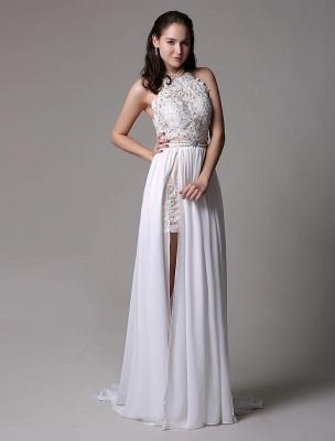 White Prom Dresses 2021 Long Ivory Halter Backless Evening Dress Lace Applique Beading Chiffon Split Party Dress_6