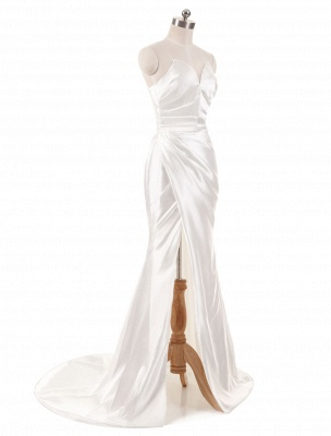 Ivory Wedding Dresses Strapless Mermaid Evening Dresses V Neck Sleeveless Split Beach Bridal Gown With Court Train_2