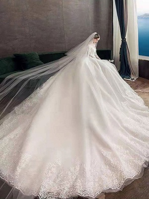New Vintage Wedding Dresses Eric White Jewel Neck Long Sleeves Natural Waist Satin Fabric Cathedral Train Applique Traditional Dresses For Bride_3