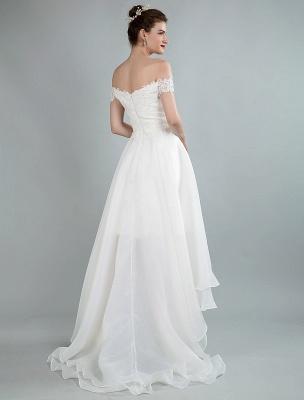 Einfaches Brautkleid A Line Off The Shoulder Ärmellose Spitze Brautkleider Mit Zug Exklusiv_6
