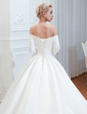 Vintage Brautkleid 2021 Satin 3/4 Ärmel schulterfrei bodenlangen Brautkleider mit Kapelle Zug_5