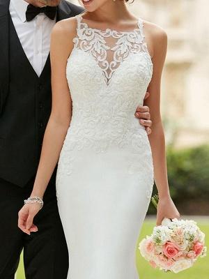 Wedding Dress 2021 Simple Mermaid Bateau Neck Sleeveless Lace Appliqued Traditional Bridal Dresses_3