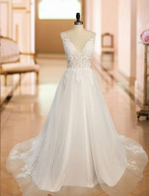 Simple Wedding Dress 2021 A Line V Neck Straps Sleeveless Lace Appliqued Tulle Bridal Gown_5