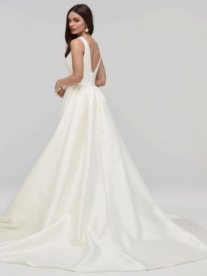 Elfenbein A-Linie Brautkleider mit Zug Ärmellose Taschen V-Ausschnitt Backless Satin Stoff Lange Brautkleider_2