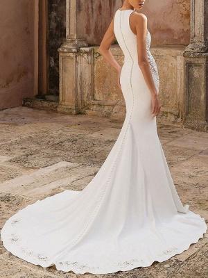 Simple Wedding Dress Lycra Spandex Jewel Neck Sleeveless Lace Mermaid Bridal Dresses_2