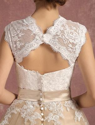 Vestido de novia de la vendimia Vestido de novia corto con apliques de encaje de champán Vestido de novia con cuello de la reina Ana Vestido de novia de la longitud del té_10