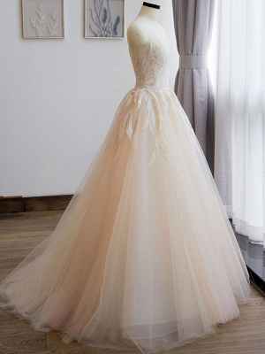 Wedding Dress 2021 Princess Silhouette Floor Length Jewel Neck Sleeveless Natural Waist Lace Tulle Bridal Gowns_5