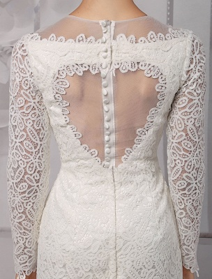 Einfache Brautkleider 2021 Kurze Langarm Illusion Ausschnitt Koyhole Knielangen Mantel Brautkleid Exklusiv_9