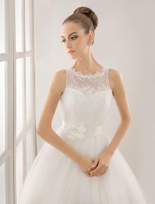 Bateau Neck Wedding Dress With Chapel Train_5