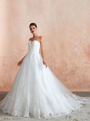 Wedding Dress Princess Silhouette Sweetheart Neck Sleeveless Natural Waist Bridal Gowns With Train_2