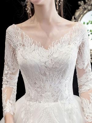 Robe de mariée blanche robe de bal train cathédrale col bijou manches 3/4 taille naturelle appliques en satin tissu robes de mariée_6