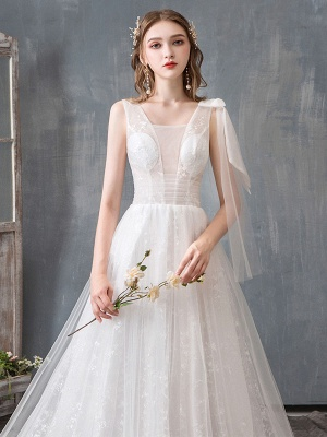 Summer Wedding Dresses 2021 Boho Beach A Line Bridal Dress Lace Applique Tulle Bridal Gown With Train_5