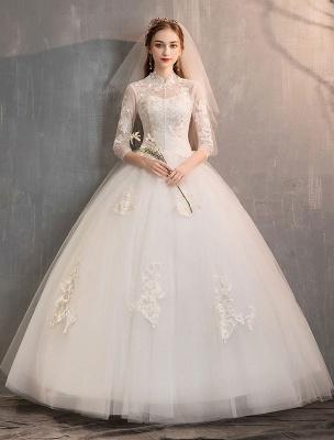Tüll Brautkleider Elfenbein Illusion Ausschnitt Halbarm Bodenlangen Prinzessin Brautkleid_1