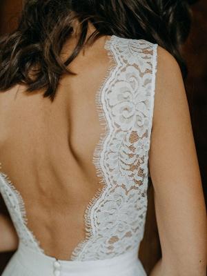Einfache Brautkleider A-Linie Brautkleider V-Ausschnitt rückenfreie ärmellose Brautkleider_7