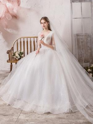 Brautkleid Prinzessin Silhouette Bodenlangen V-Ausschnitt Ärmellos Natürliche Taille Perlen Lycra Spandex Brautkleider_6