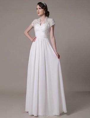 Sheath Wedding Dress V-Neck Lace Chiffon Pleated Floor Length Bridal Dress Exclusive_7