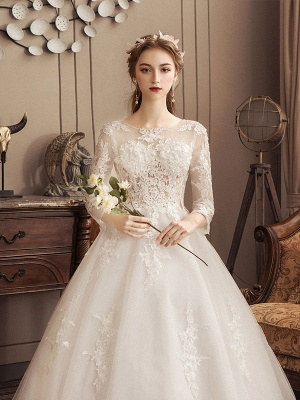 Ivory Wedding Dresses Lace Applique Jewel Neck 3/4 Length Sleeve Princess Bridal Gown With Train_6